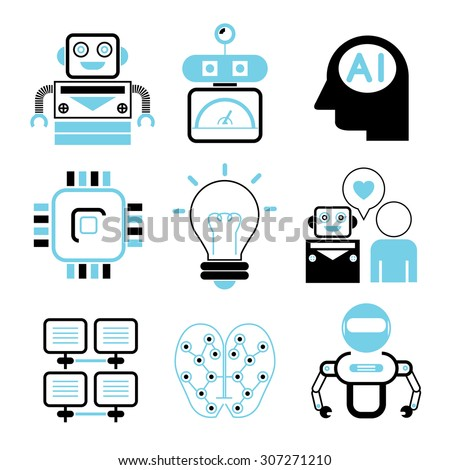 artificial intelligence icons set - stock vector