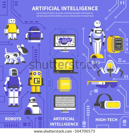Artificial intelligence infographics layout with information about robots and products of high tech technology and innovations flat vector illustration