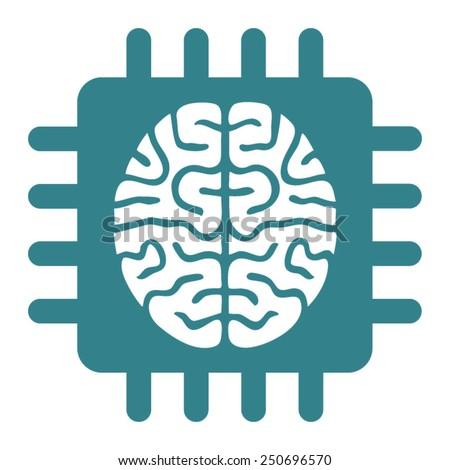 Computer Brain Icon Brain Computer Chip Icon