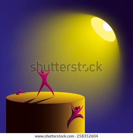artificial lighting like the sun and people competing for it. Spotlight and podium - stock vector