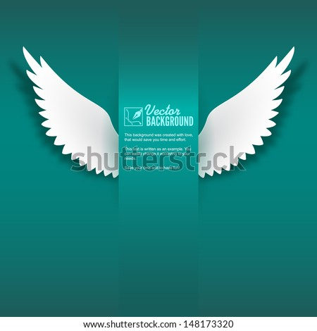 Artificial paper wings, soaring wings. Card for your creativity - stock vector