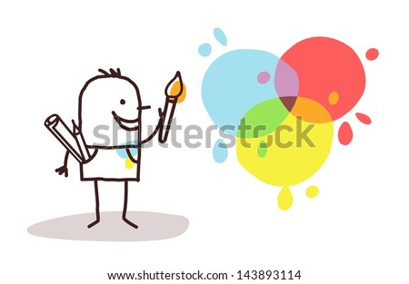 artist painter and colors - stock vector