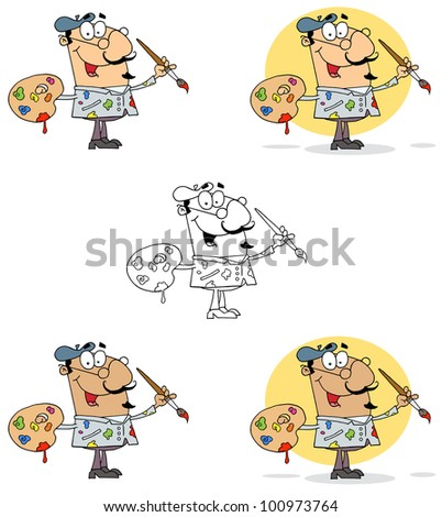 Artist Painter With A Brush And Palette. Vector Collection - stock vector