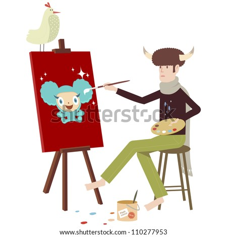 Artist painting jumping character on canvas with easel
