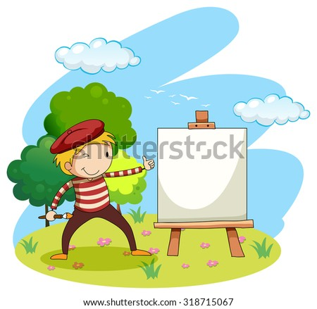 Artist painting on canvas illustration