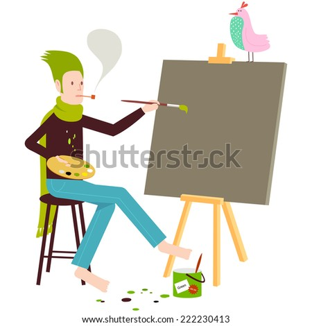 Artist painting on canvas with easel and bird