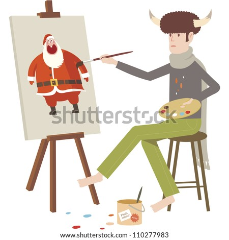 Artist painting Santa Claus on canvas with easel