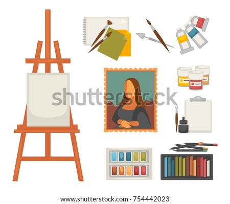 Artist painting tools artistic materials icons stock for Materials for canvas painting