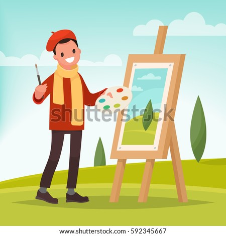 Artist paints a picture of landscape in the nature. Plein Air. Vector illustration in a flat style