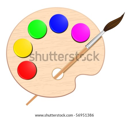 artist;s color palette with brush - stock vector