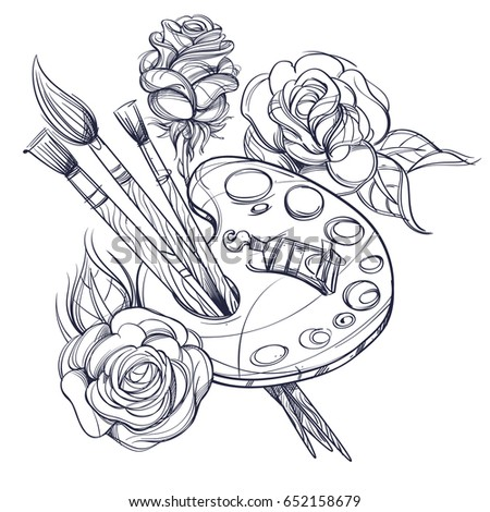 Artists Palette Paints Brushes Roses Black Stock Vector 652158679 ...