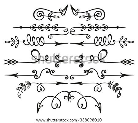 Artist vintage hand drawn arrows. Set of decorative elements. Floral and florid vignettes. - stock vector