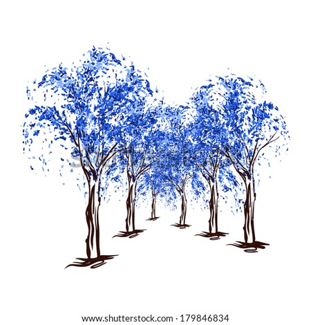 artistic abstract blue trees in bloom - stock vector