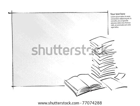 artistic background - book and  sheets of paper icons (simple freehand drawing vector) - stock vector