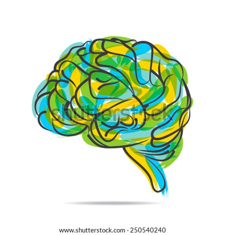 artistic brain design by paint effect vector  - stock vector