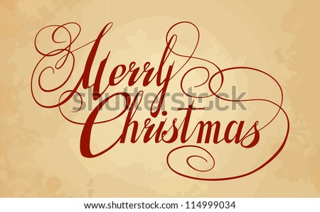 Artistic calligraphy for postcard. Merry Christmas - stock vector