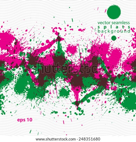Artistic colorful abstract dirty ink template, messy transparent vertical scanned and traced splashing decorative backdrop. Eps10 grungy repeat background. - stock vector