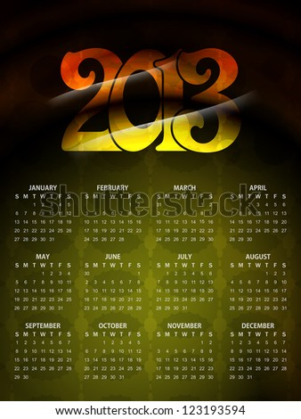 artistic colorful calender design for new year 2013. vector illustration