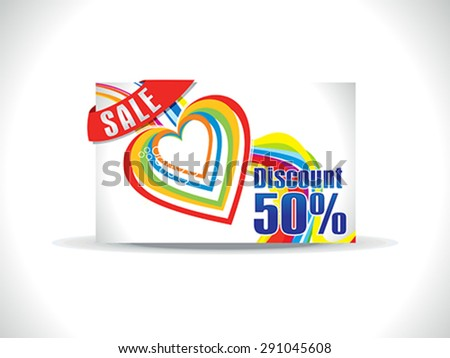 artistic colorful love discount card vector illustration - stock vector