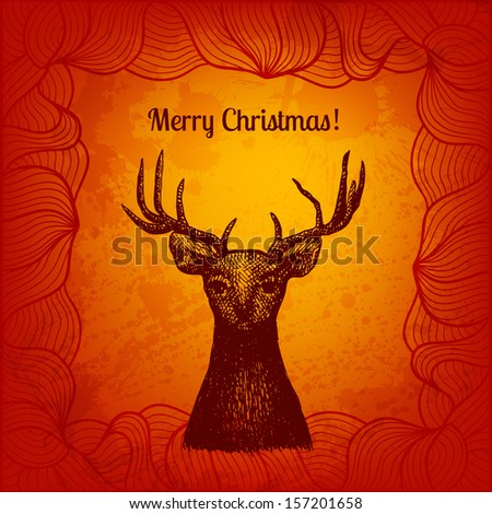 Artistic colorful vector illustration. Christmas deer