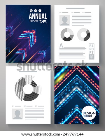 Artistic corporate or company annual report vector template with a dynamic design of parallel arrows formed of glowing multicolored lights with editable text and analytical graphs - stock vector