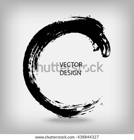 Artistic creative painted circle for logo, label, branding. Black enso zen round. Vector illustration.