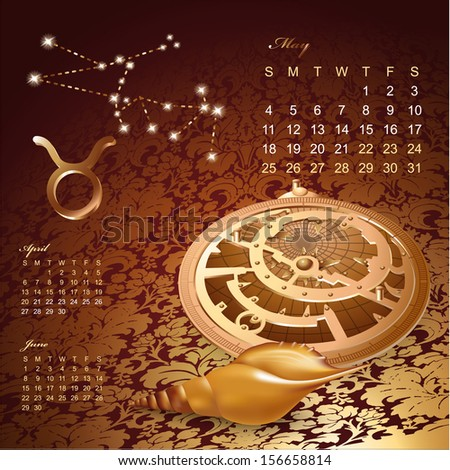 Artistic 2014 daily calendar with zodiac signs and astrology design elements - stock vector