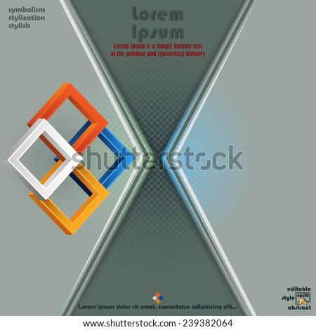 Artistic design of three dimensions squares and diagonal stratification background with squares. - stock vector