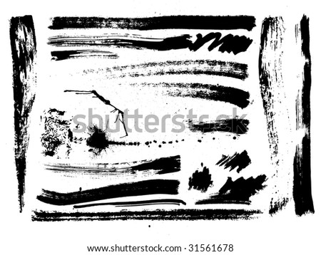 """artistic effect """"dry brush"""", vector  without gradient - stock vector"""