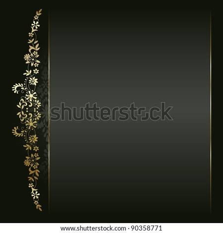 Artistic flower golden background for your text - stock vector