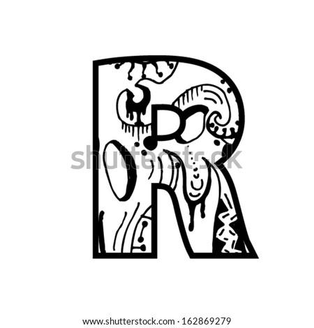 Artistic Font Letter Modern Shapes Stock Vector 162869279
