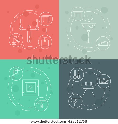 Artistic gymnastics concept made in modern linear vector style. Unique illustration for t-shirts, banners, flyers and other types of business design. Sports and fitness vector series. - stock vector