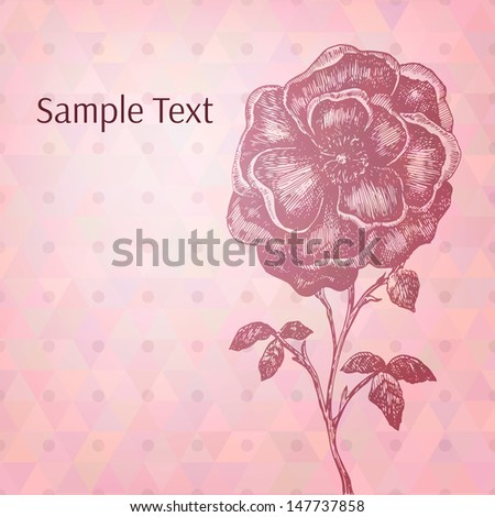 Artistic hand drawn flower on abstract varied triangles background. Vector illustration for your design. - stock vector
