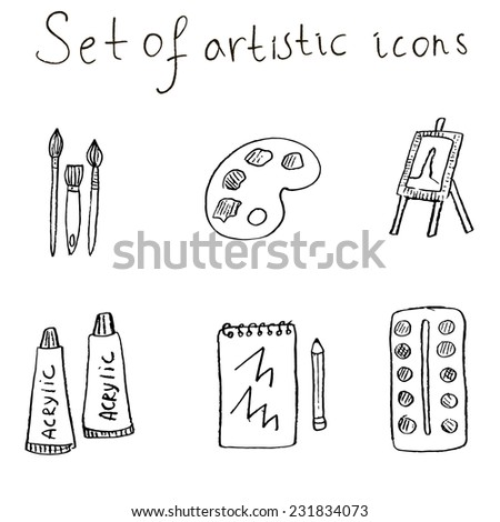 Artistic icons set vector illustration. Set of brushes, acrylic paint, easel, watercolor, palette, notebook and pencil in sketch style.