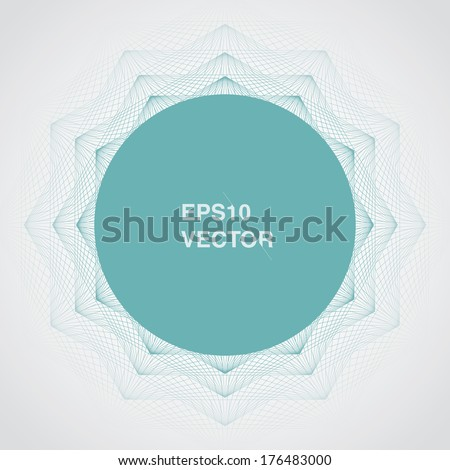 Artistic, ornamental background illustration with circle shape text box-  turquoise version - stock vector