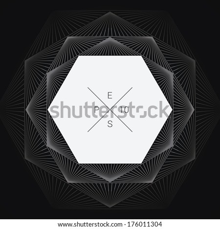 Artistic, ornamental background line graphics as hexagon shape text box for web page, brochure, banner- white version - stock vector