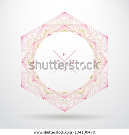 Artistic, ornamental background line graphics with circle shape text box for web page, brochure, banner- pink, yellow version - stock vector