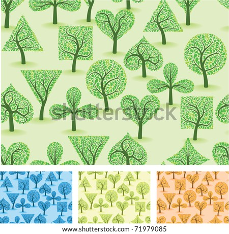 Artistic ornamental forest. Vector seamless background set. - stock vector