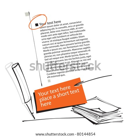 artistic page layout - documents, pencil icon & other elements - stock vector