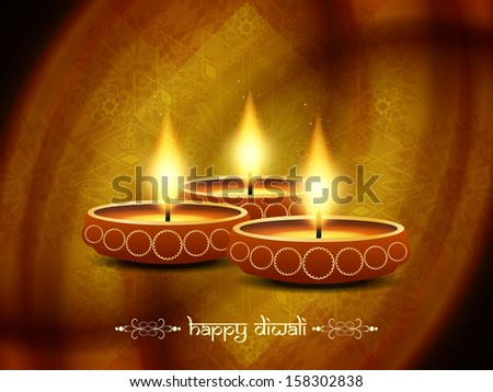artistic religious background design for diwali festival with beautiful lamps. vector illustration