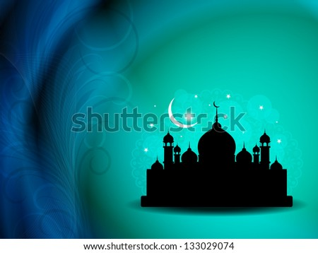 Artistic religious eid background with mosque. - stock vector