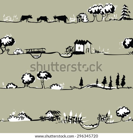Artistic seamless pattern with rural line landscape - stock vector