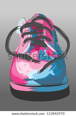 Artistic Shoe Illustration. Vector Painting - stock vector