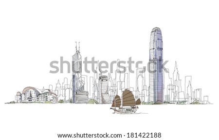 Artistic sketch of Hong Kong bay, sketch collection - stock vector