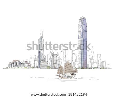 Artistic sketch of Hong Kong bay, sketch collection - stock vector