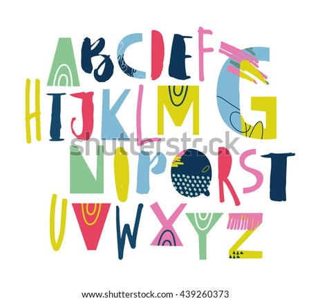 Artistic Sketchy ABC for your design. Vector EPS 10.