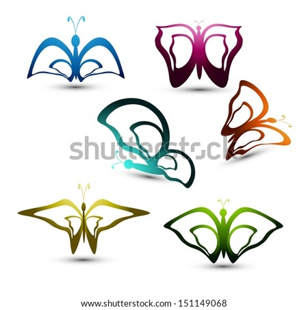 Artistic styles multicolor butterfly colorful design vector - stock vector
