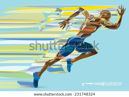 Artistic stylized running man in motion - stock vector