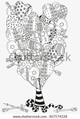 Artistic tree with heart-shaped pattern for coloring book. Hand drawn hearts  in vector. Valentines day. Doodle, zentangle, tribal design elements. Black and white. Made by trace from sketch. - stock vector