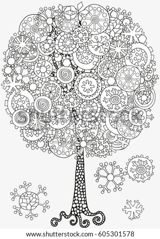 Artistic Tree With Winter Christmas Snowflakes Pattern For Coloring Book Hand Drawn Doodle